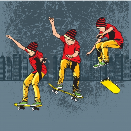 A teenager playing skateboard on street Stock Vector - 15521010