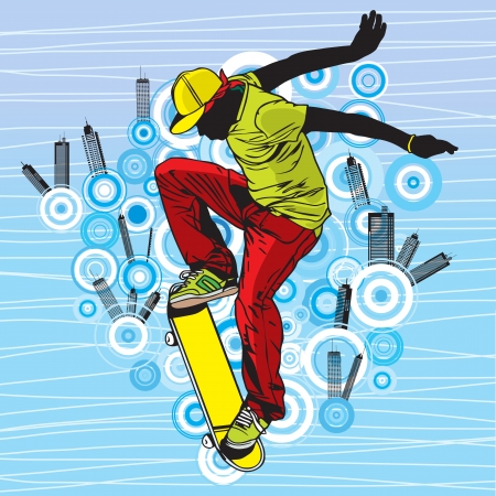 A teenager playing skateboard on street Vector