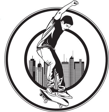 skateboarding: A teenager playing skateboard on street