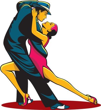 bailarines de salsa: Par en la pasión del tango danza aislado sobre fondo Vectores