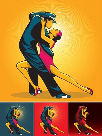 bailarines de salsa: Par en la pasión del tango danza aislado sobre fondo de color Vectores
