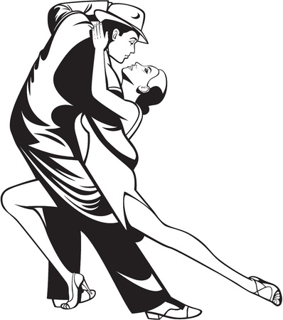salsa dancer: Dance pair in tango passion, black white illustration