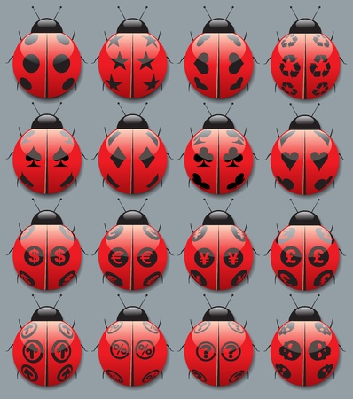 Ladybugs with different black points  symbols Stock Vector - 15560591