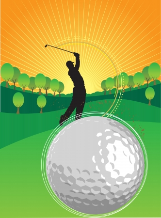A person is playing golf in the sunset Vector