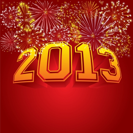 fireworks 'hope fireworks: Happy new year 2013 vector illustration