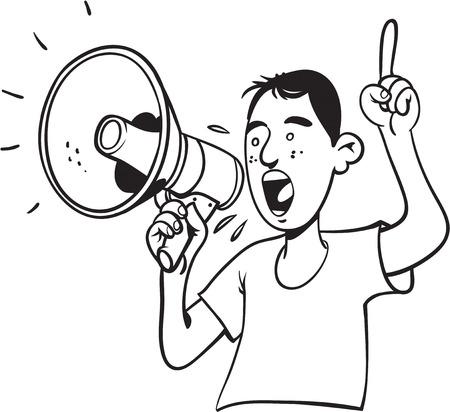 L'uomo con megafono gridare