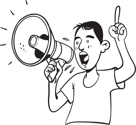 Man shouting with megaphone Illustration