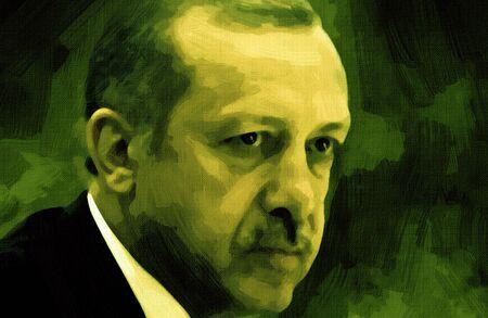 The illustration Recep Tayyip Erdogan, President of the Republic of Turkey