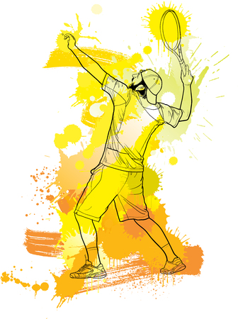 Abstract tennis player with a racket from splash.