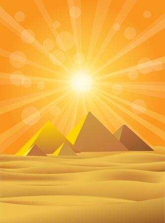 Giza pyramids scene with sunburst