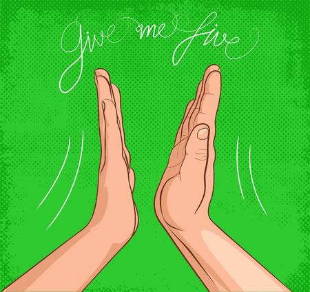 Gib mir fünf auf grünem Hintergrund