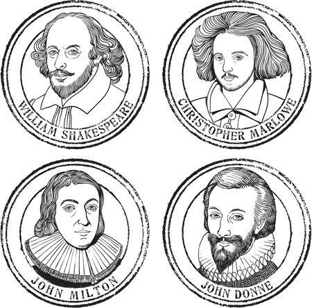 Portrait illustration stamp set in line art of William Shakespeare, John Milton, Christopher Marlowe and John Donne.
