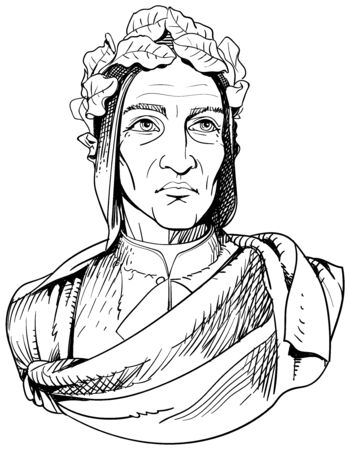 Durante Degli Alighieri, was an Italian poet during the Late Middle Ages. Line art portrait. Vector Ilustrace
