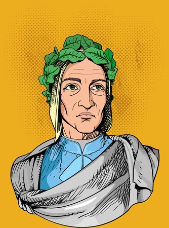 Durante Degli Alighieri, was an Italian poet during the Late Middle Ages. Line art portrait. Vector Ilustracja