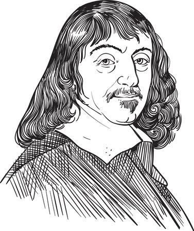 Rene Descartes in line line art portrait, vector