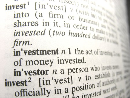 defined: Investment as defined in the dictionary Stock Photo