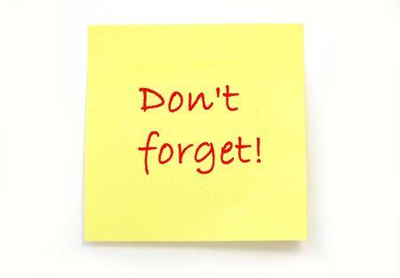 Vergessen Sie nicht!