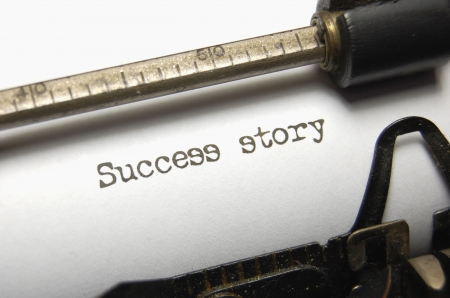 stories: Success Story written on an old typewriter