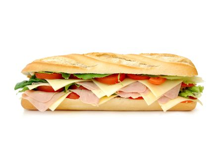ham sandwich: Large sub sandwich isolated on white