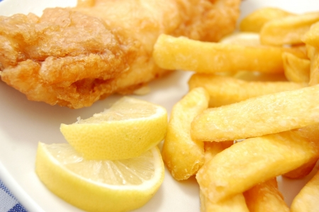 hake: Fish and chips Stock Photo