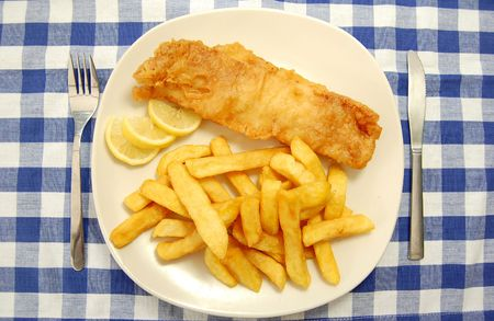 fish oil: Fish and chips Stock Photo
