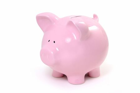 white piggy bank: Piggy bank Stock Photo