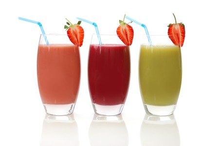 Different flavoured fruit smoothies photo