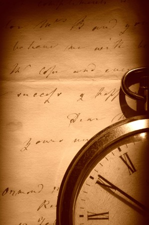 Vintage watch and old letter photo