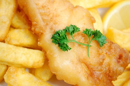 cod oil: Fish and chips takeaway Stock Photo