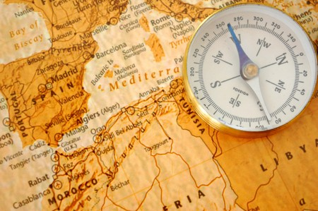 geography: Vintage compass and map