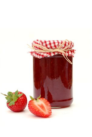 jar: Jam and strawberries Stock Photo