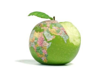 bitten: Bitten globe apple isolated on a white background