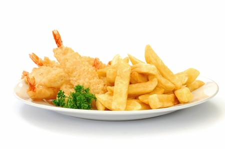 tiger shrimp: Fish and chips Stock Photo