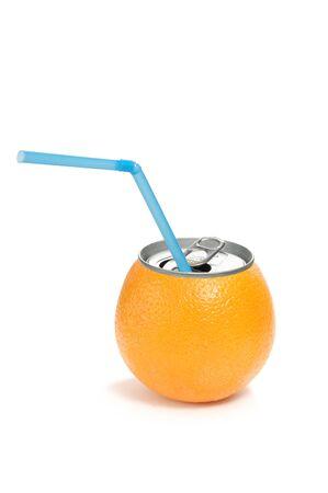 Orange fruit can photo
