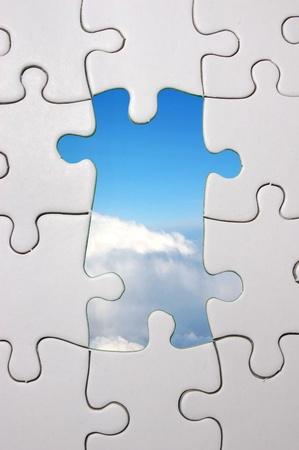 Blue sky jigsaw photo