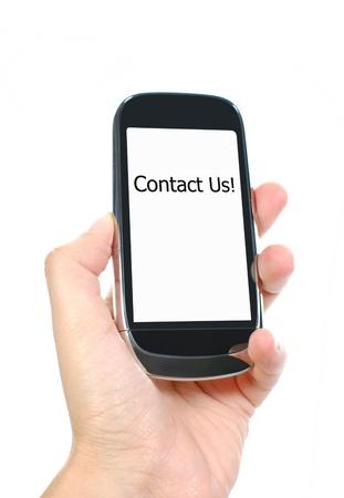 hand written: Contact us!