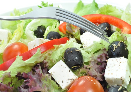 salads: Greek salad closeup