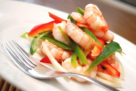 person appetizer: Prawn salad  Stock Photo