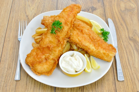 fried fish: Fish and chips
