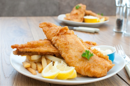 wedges: Fish and chips