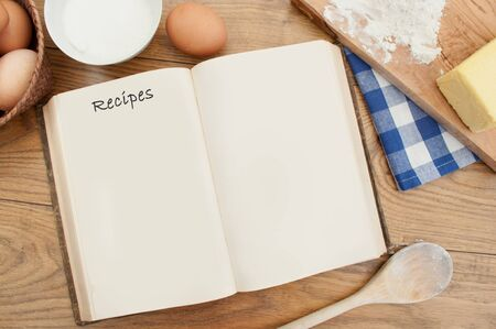 Recipe book and ingredients  Stock Photo