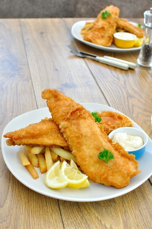 lemon wedge: Fish and chips