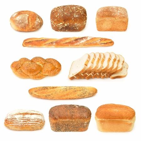 Colección de barras de pan y baguettes Foto de archivo