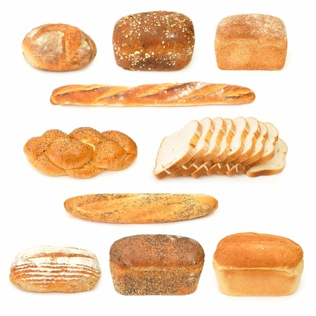 french loaf: Collection of bread loaves and baguettes  Stock Photo