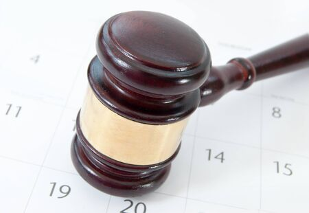proceedings: Gavel and calendar  Stock Photo