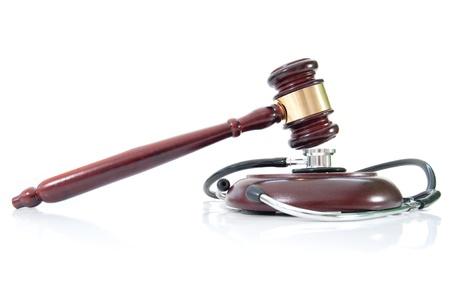 malpractice: Stethoscope and gavel  Stock Photo