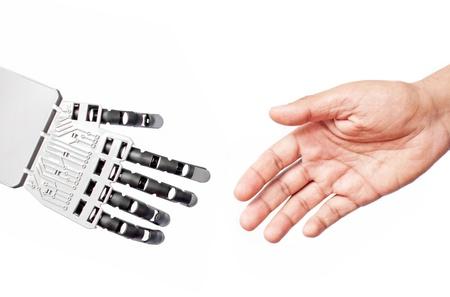 Robot man handshake photo