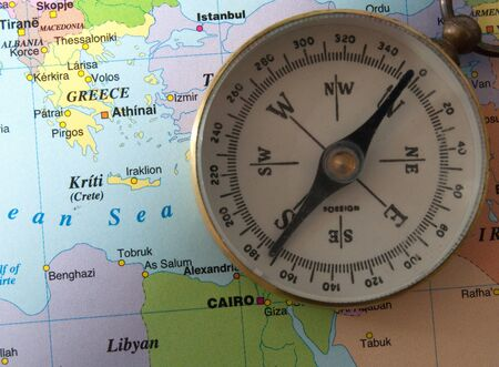 Greece map and compass photo