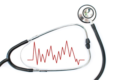 Heart beat graph and stethoscope photo