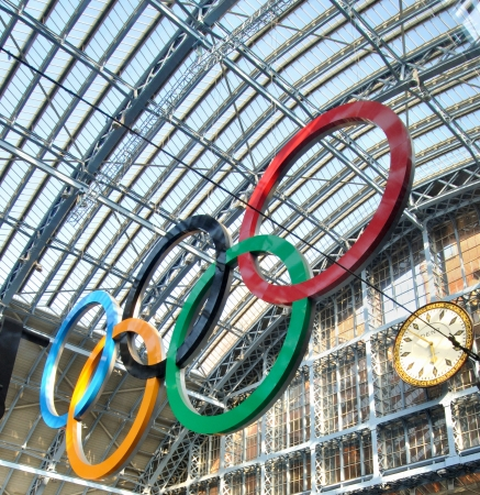 pancras: Olympic rings at St Pancras international train station in London  Photo taken on the 22nd May 2012   Editorial